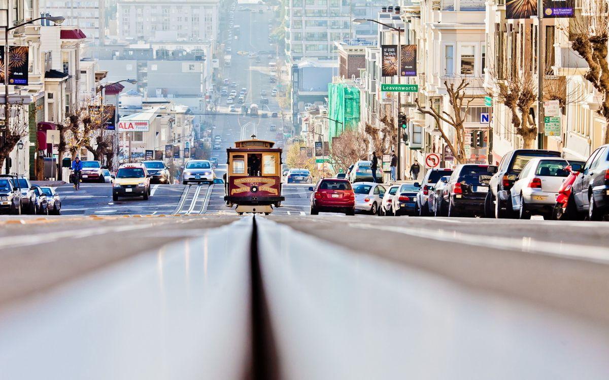 Фото бесплатно троллейбус, улица, припаркованные автомобили - на рабочий стол