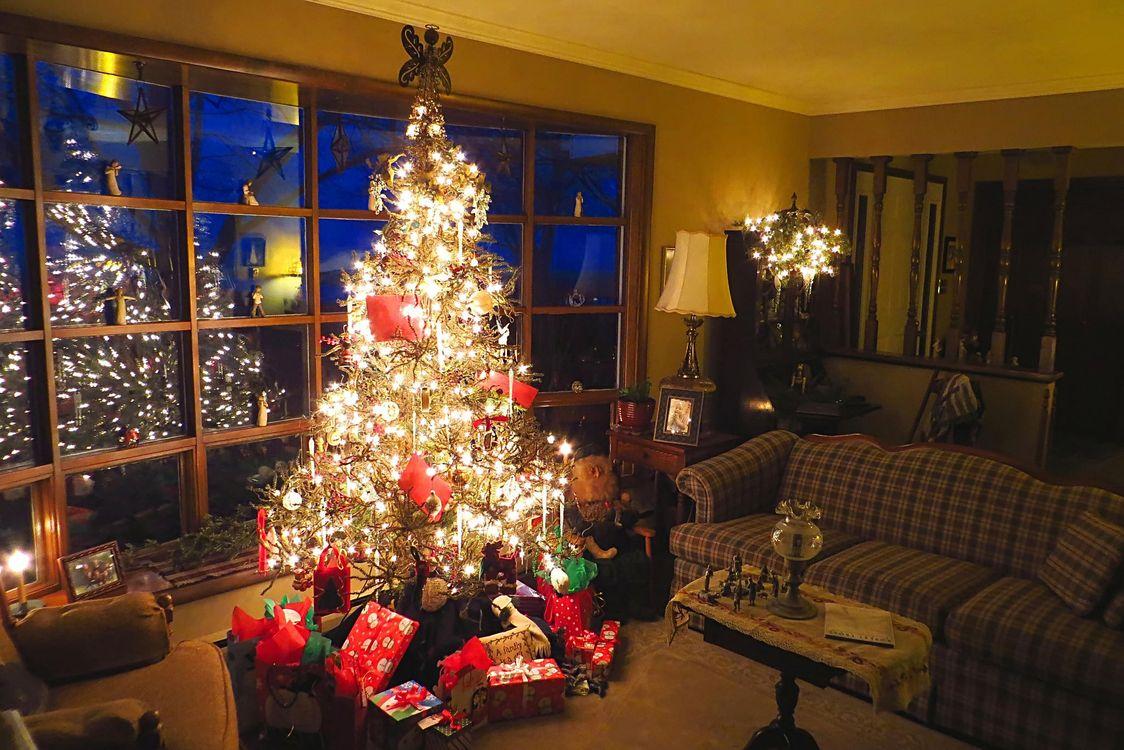 Фото бесплатно Рождество, фон, дизайн, элементы, ёлка, новогодние обои, новый год, интерьер, гирлянды, иллюминация, новый год