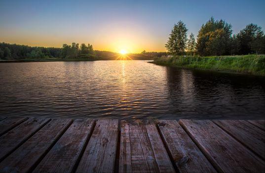 Заставки закат, река, мостик