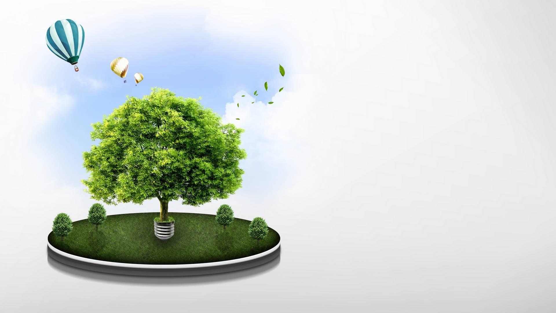 Обои поляна, дерево, листья, воздушные шары