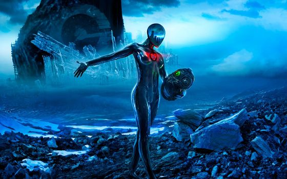Photo free space, planet, humanoid