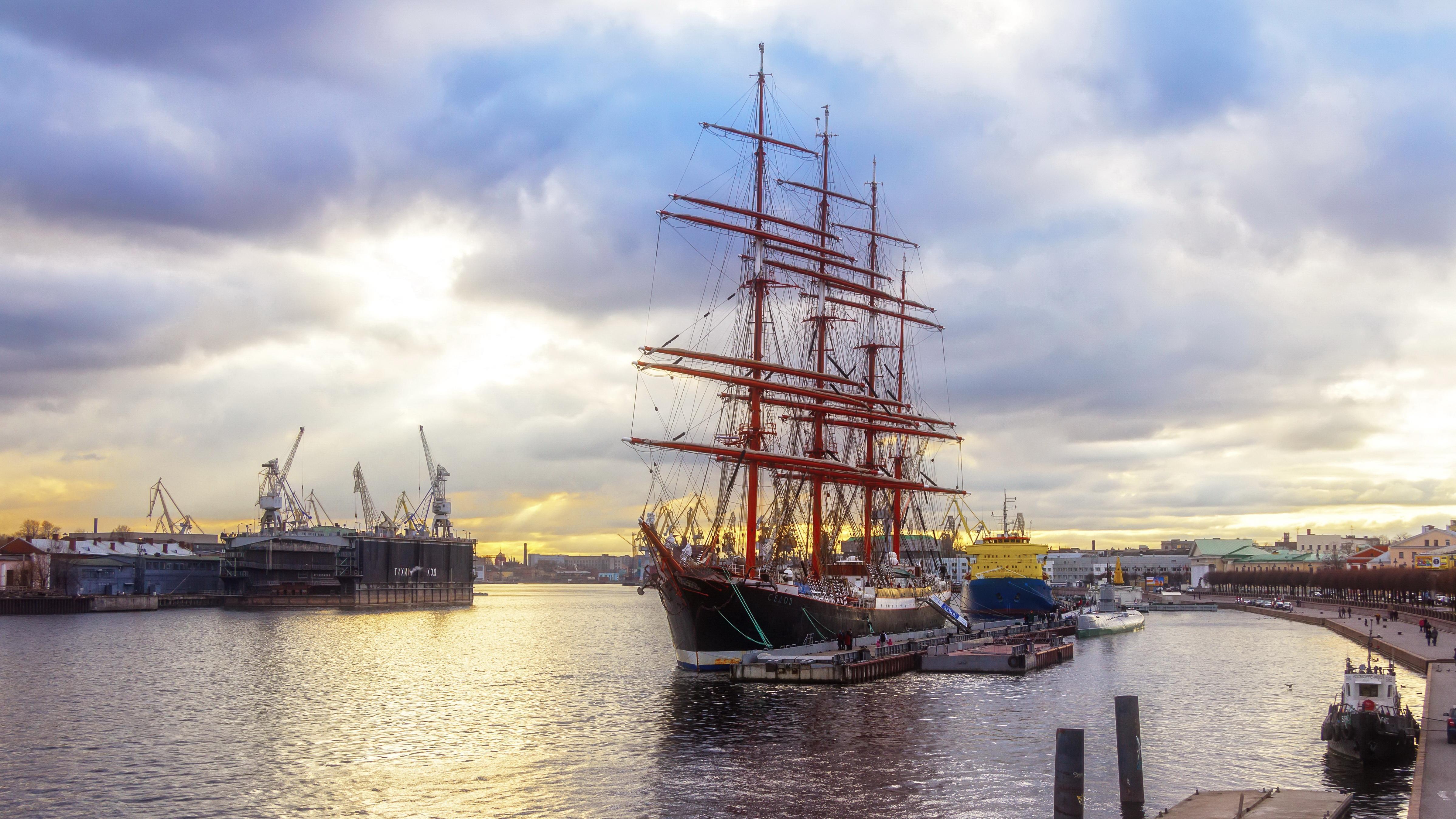 Обои Санкт-Петербург, Река Нева, Парусник Седов, корабль