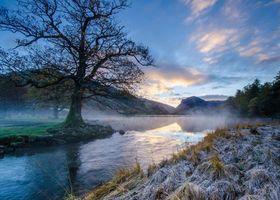 Фото бесплатно закат, река, горы