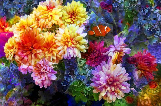 Фото бесплатно цветы, 3d, art