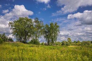 Фото бесплатно Деревня, домики, лето, небо, облака, деревья, трава, пейзаж, природа
