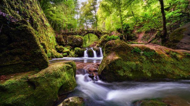 Бесплатные фото Мюллерталь,Люксембург,Швейцария,водопад,река,мост,деревья,лес,пейзаж