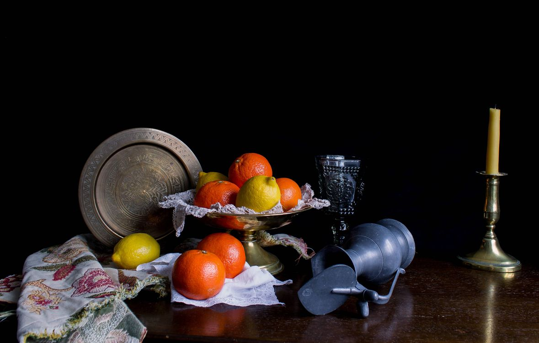 Фото бесплатно стол, свеча, фрукты, цитрусы, лимоны, апельсины, натюрморт, еда - скачать на рабочий стол