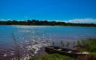 Бесплатные фото берег,трава,лодка,весла,река,деревья,небо