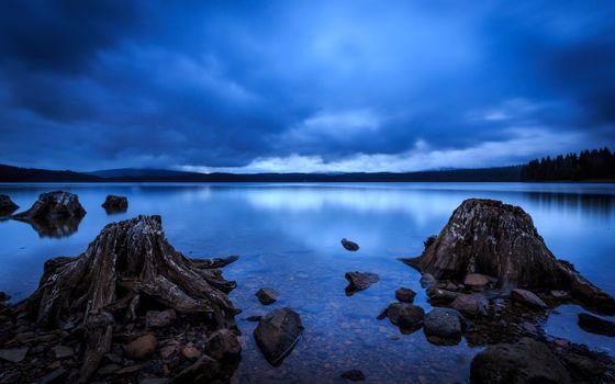 Заставки Охлаждённые пни,речной озёрный залив,камни,пни,тучи