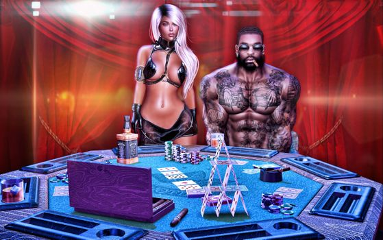 Бесплатные фото казино,игорный дом,игрок,негр,красивая девушка,мачо,карты,art