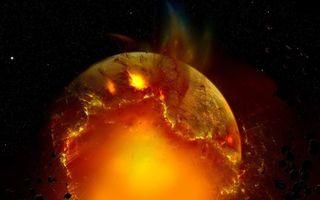 Фото бесплатно планета, столкновение, хаос, ядро, жар, лава