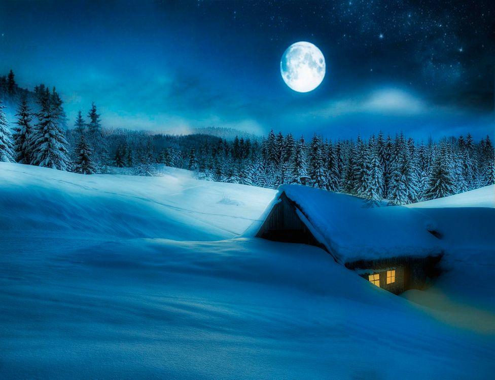 Фото бесплатно зима, ночь, луна, снег, домик, деревья, сугробы, пейзаж, пейзажи