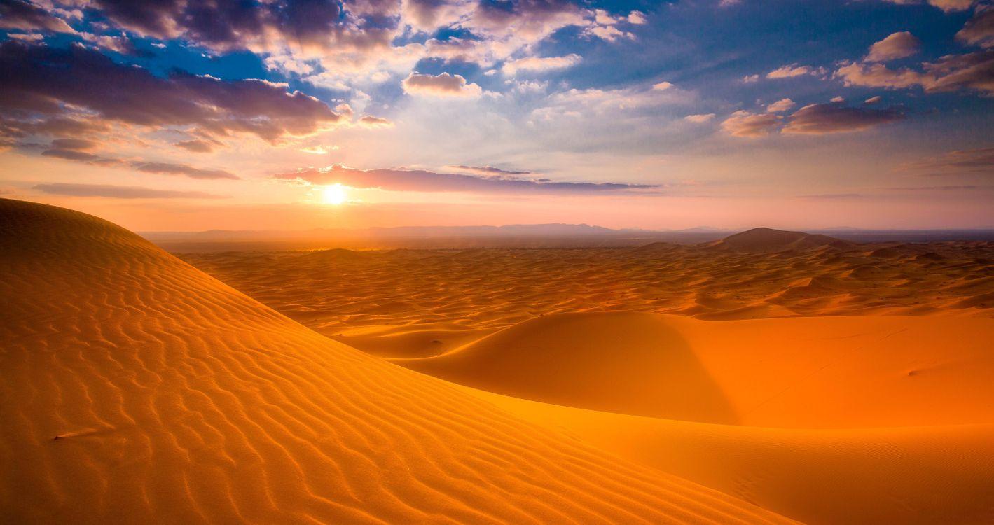Фото бесплатно Дюны, пески, закат - на рабочий стол