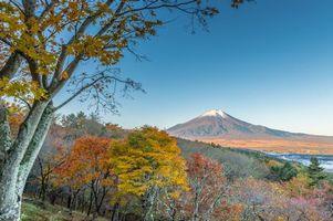 Бесплатные фото Хонсю,Япония,Яманаси,осень,пейзаж