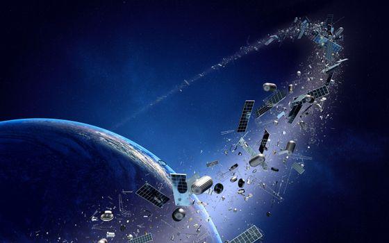 Фото бесплатно космический мусор, разбитые спутники, орбита
