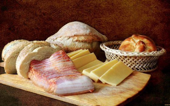 Фото бесплатно сало копченое, сыр, хлеб