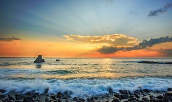 Фото бесплатно закат, море, камни