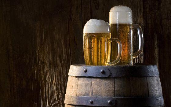 Фото бесплатно бочка, кружки, пиво