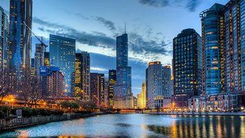 Фото бесплатно Чикаго, вечер, небоскребы, огни, фанари