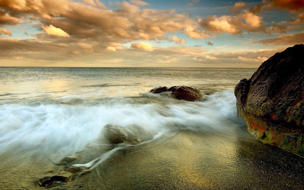 Фото бесплатно камни, облака, песок - на рабочий стол