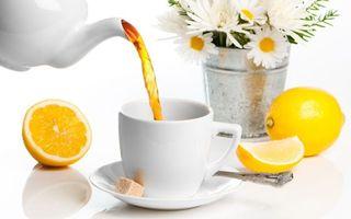 Бесплатные фото чашка,лимон,чай,стол,цветы