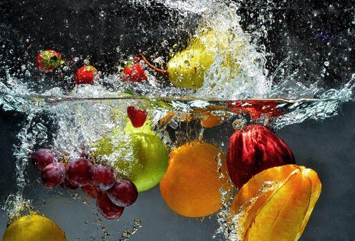 Бесплатные фото фрукты,вода,брызги,еда