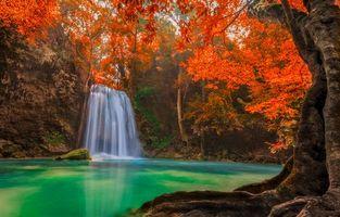 Бесплатные фото Канчанабури,Таиланд,водопад,каскад,река,деревья,природа