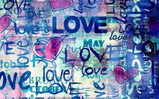 Photo free love, inscription, hearts