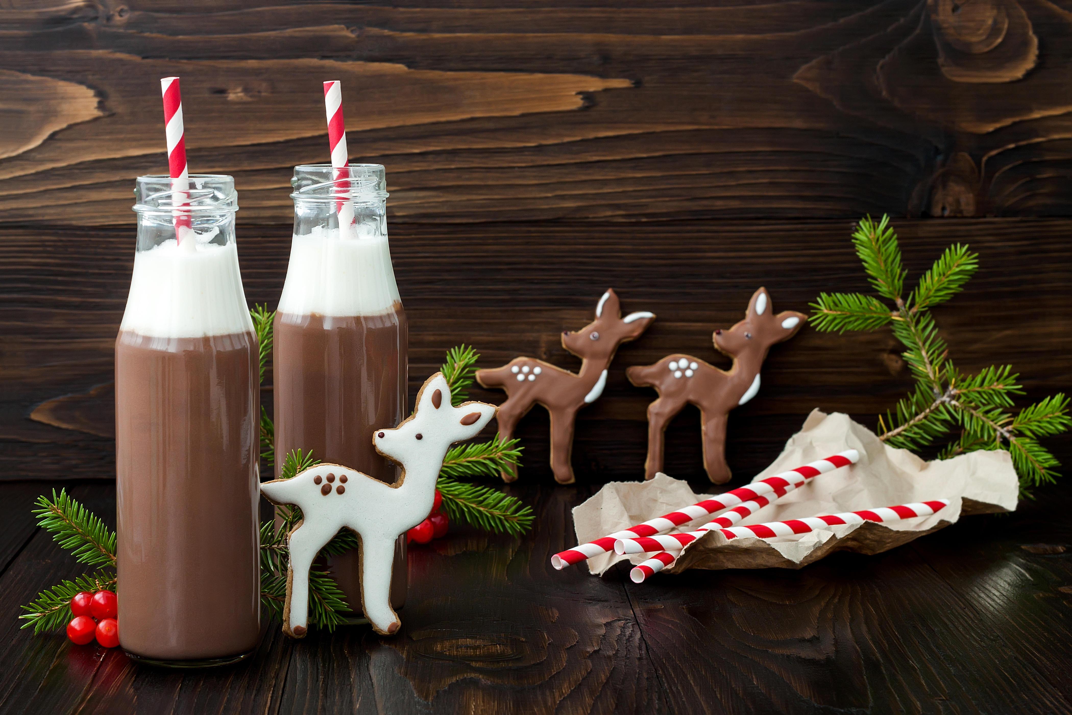 Обои новый год, какао, шоколад, печенье