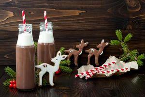Бесплатные фото новый год,какао,шоколад,печенье,глазурь,горячий шоколад,напиток