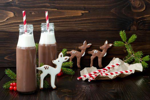 Бесплатные фото новый год,какао,шоколад,печенье,глазурь,горячий шоколад,напиток,бутылки,трубочки
