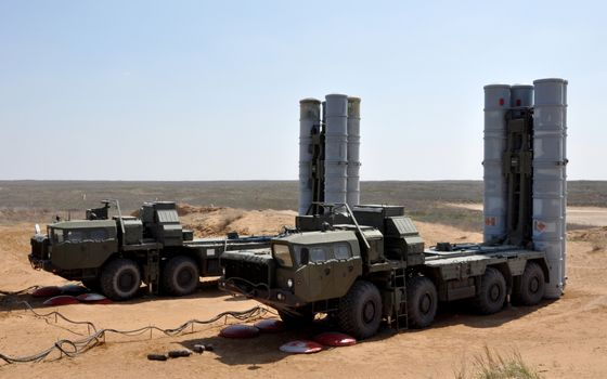 Photo free s-300, anti-aircraft missile system, tractor