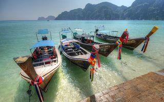 Бесплатные фото тропики,пристань,лодки,море,горы,растительность,небо
