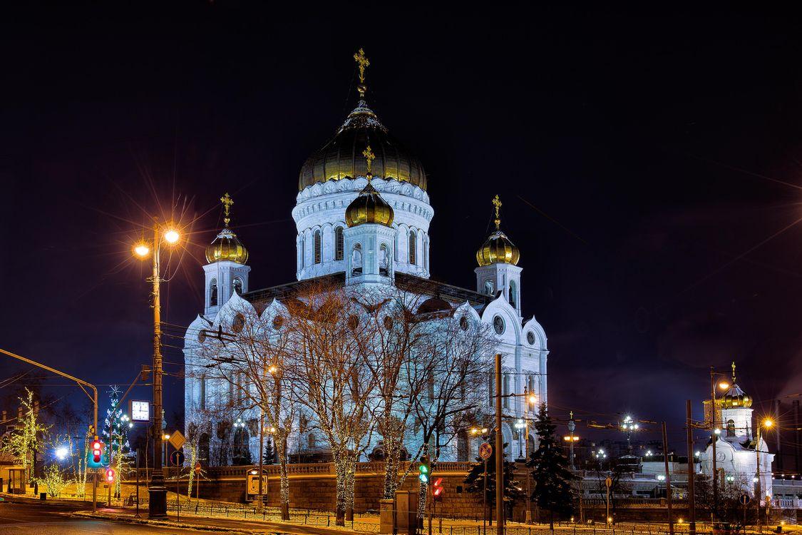 Фото бесплатно Храм Христа Спасителя, Москва, Россия, ночь, город