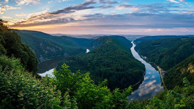 Бесплатные фото Германия,подкова,Восход,река,деревья,пейзаж