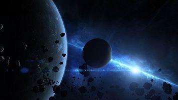 Фото бесплатно Планета и малый спутник, метеориты, звезда, свечение
