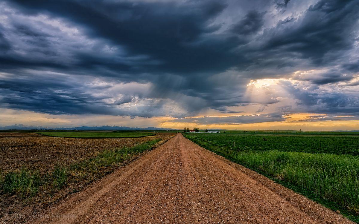 Фото бесплатно Колорадо, закат, поле, дорога, пейзаж, пейзажи