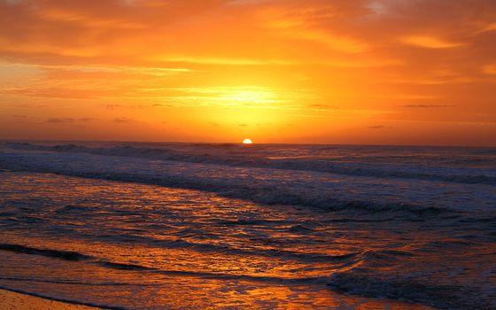 Photo free sea sunset, beach, waves