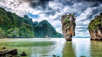 Заставки Остров Джеймса Бонда, Пхангнга, Таиланд, залив, Андаманское море, горы, скалы