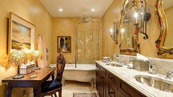Бесплатные фото ванная,зеркало,стол,лампы