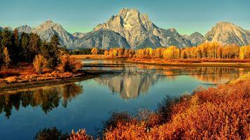 Бесплатные фото осень,река,деревья,листопад,горы,осенний день