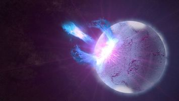 Обои взрыв, свечение, планета, яркая вспышка