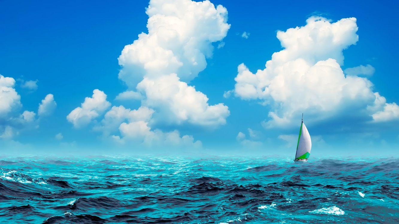 Фото бесплатно яхта, парус, море, волны, горизонт, небо, облака, пейзажи
