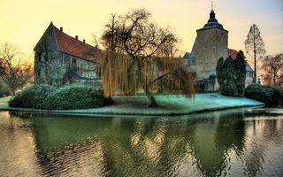 Гамбург, Германия, дерево, река, замок