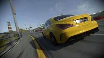 Бесплатные фото Mercedes-Benz,CLA 45,AMG,желтый,трасса,скорость