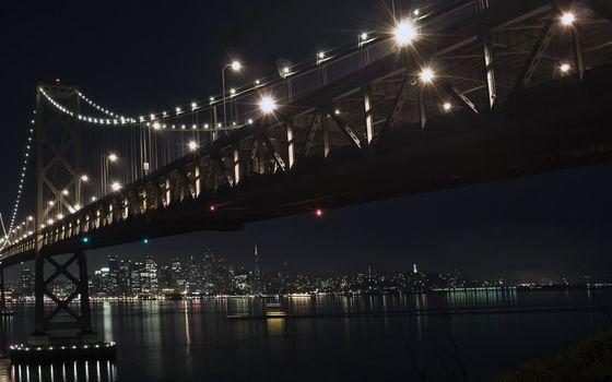 Заставки огни, дома, мост