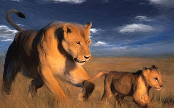 Фото бесплатно львица и львенок, семья, рендеринг
