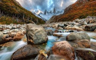 Фото бесплатно снег, скалы, река