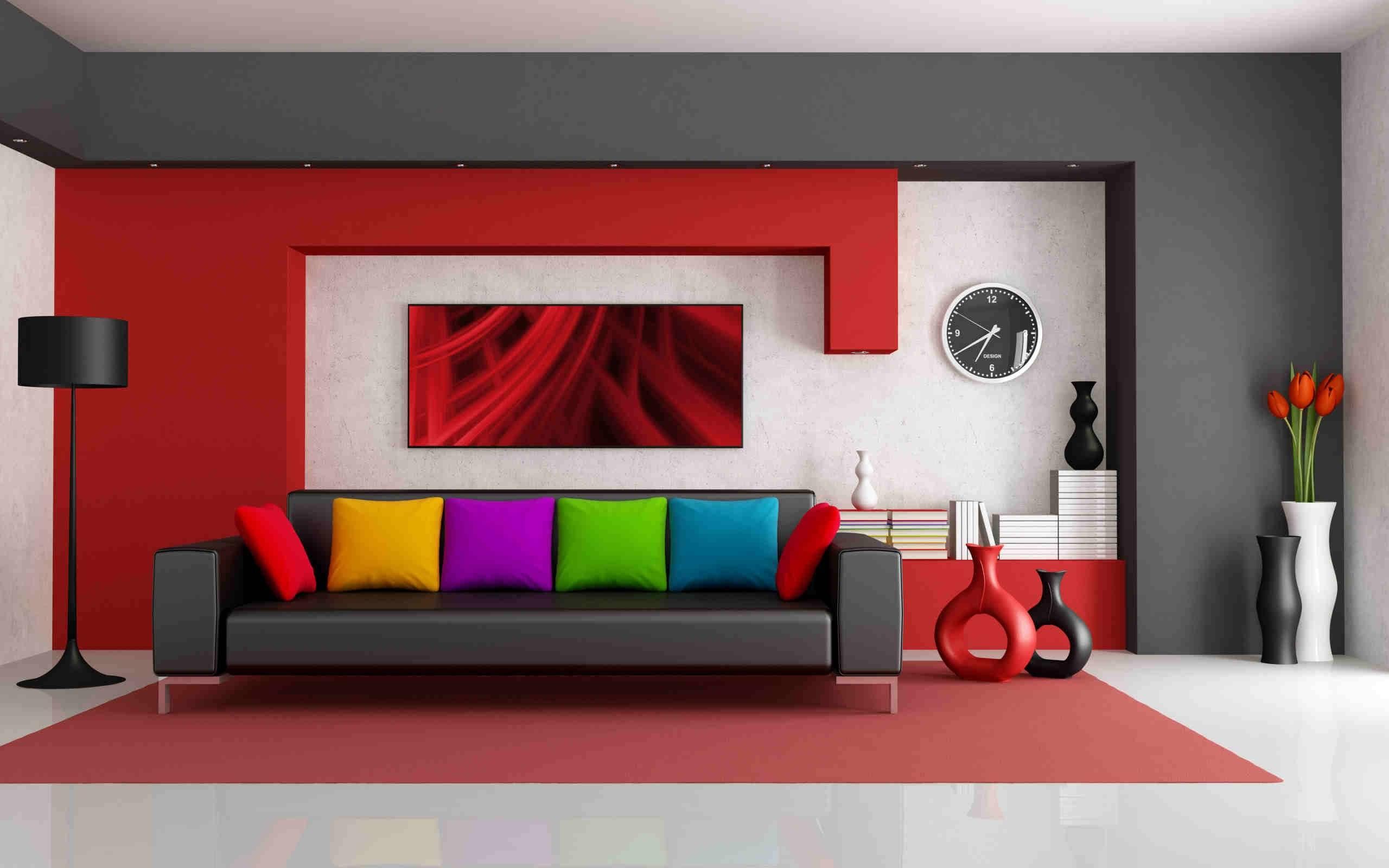 Обои яркий интерьер, диван, подушки, телевизор