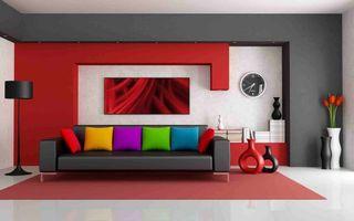 Бесплатные фото яркий интерьер,диван,подушки,телевизор,часы,вазы,цветы